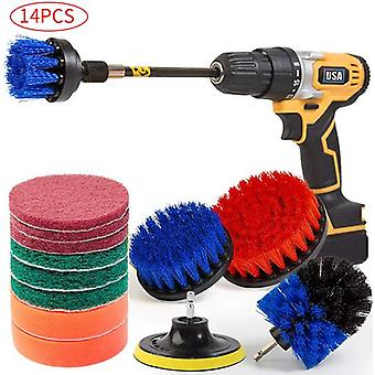 Electric Drill Cleaning Brush Set - Bathroom Surfaces Tub Shower Tile And Grout All Purpose Power Scrubber Cleaning Kit