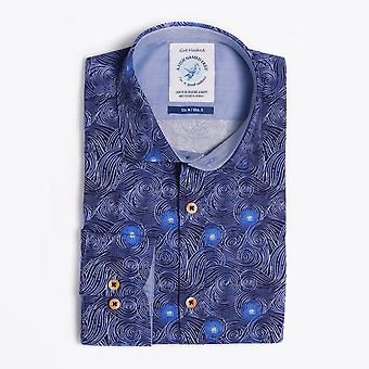 A Fish Named Fred  - 'Moving Sky' Print Shirt - Blue