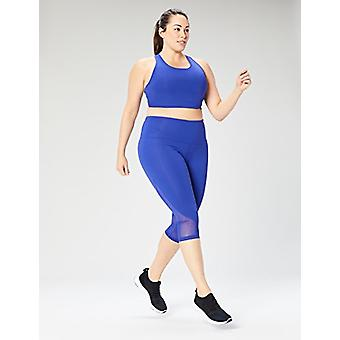 Brand - Core 10 Women's Plus Size Longline Pocket Sports Bra, Brite Bl...
