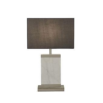Valonheittimen - Pöytälamppu Satiini nikkeli, Valkoinen marmori harmaalla rumpusävyllä