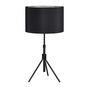 1 Light Indoor Table Lamp Black with Cylindrical Shade, E27