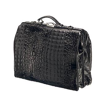 Leather Laptop Bag - The classic - Black Croco