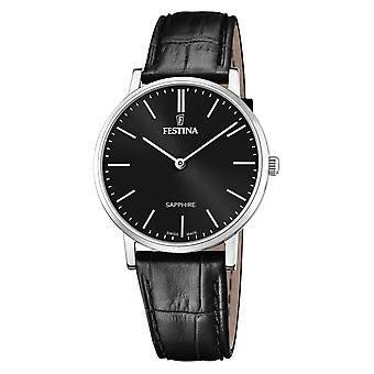Festina swiss made watch for Analog Quartz Men with Cowhide Bracelet F20012/4