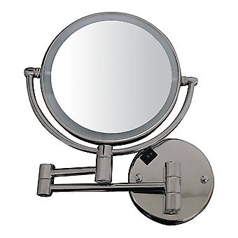Round Wall Mount Dual Led 7X Magnified Mirror - Brushed Nickel