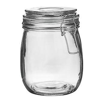 Pot de rangement en verre de vaisselle Argon avec couvercle de clip hermétique - 750ml - Joint blanc