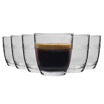 Duralex Gigogne Shot Glass Espresso Cups - 90ml Drinking Glasses - Pack of 6