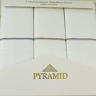 Ties Planet 100% Cotton Men&s Zsebkendő 3-pack - fehér, kék, bézs és szürke csíkok