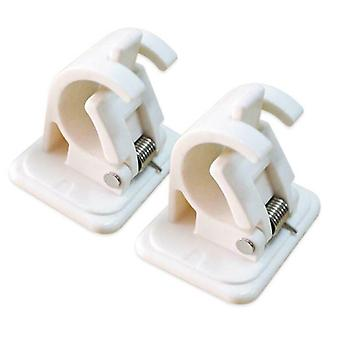 2 Pcs White Curtain Hanging Rod Clamp Hooks For Bathroom Shower, Rod Fixed