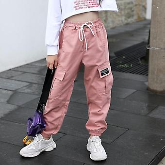 Trend Clothing Girls Cotton Cargo Pants Multi-pocket Girls Sweatpants- Elastic Waist Harem Pants Kids Children Hip-hop 12t