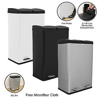 Double Pedal Bin Dual Compartments 60L Rubbish Capacity Recycling Waste Dustbin