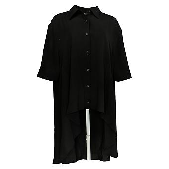 DG2 by Diane Gilman Women's Top Button Front Hi-Low Blouse Black 710-405