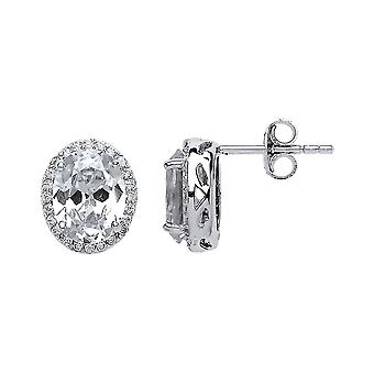 Jewelco London Ladies Rhodium Plated Sterling Silver oval Cubic zirconia Oval Halo Cluster Stud Earrings