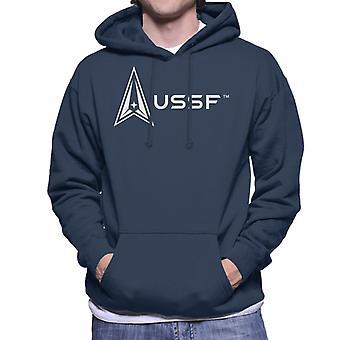 U.S. Space Force Light Logo Alongside USSF Text Men's Hooded Sweatshirt