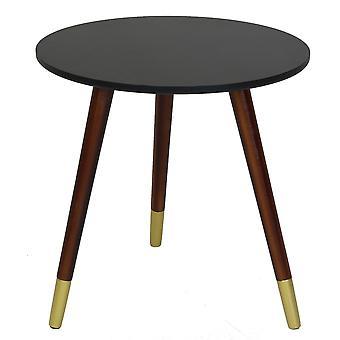 Charles Bentley Czarny stolik z złotymi stopami okrągły stolik kawowy Sofa koniec stolik nocny wytłoczony Scandi