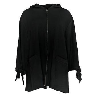 Rhonda Shear Women's Plus Black Long Sleeve Zip Front Hooded 700-563