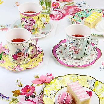 Party Vintage Floral Style Paper Cups & Saucers x 12