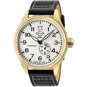 GV2 Men's Aeuronautica White Dial Black Calfskin Leather Watch