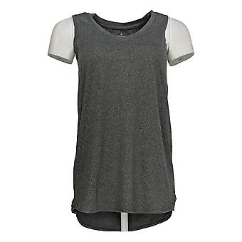 Cuddl Duds Women's Top Flexwear V Neck Tank Shirt Tail Hem Gray A302779