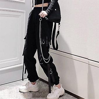 Women's Cargo Pants Ribbon Pocket Jogger Elastic Waist High Streetwear Trousers