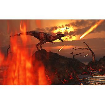 Могучий Tyrannosaurus Rex встречает его конец области, проживающих в пострадавших от интенсивных землетрясений и вулканической активности Плакат Печать