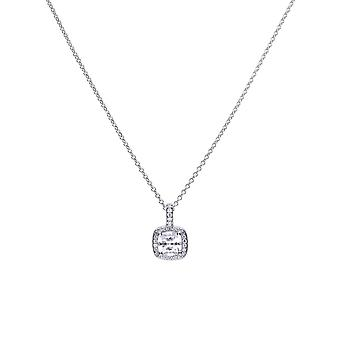 Diamonfire 925 Plata esterlina Cuadrado Pave Conjunto Cubic Zirconia con White Stone Cluster Surround Collar 41-46cm
