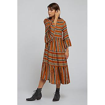 Louche Womens Theana Ochre Stripe Print Midi Dress Orange