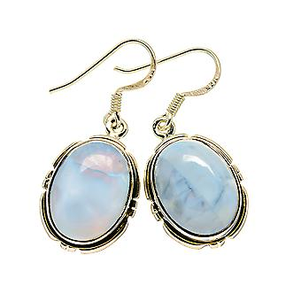 "Owyhee Opal Earrings 1 3/8"" (925 Sterling Silver)  - Handmade Boho Vintage Jewelry EARR411021"