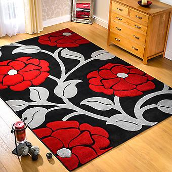 Hand Carved Vine Rugs In Black And Red