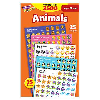 Animals Supershapes Stickers Variety Pack, 2500 Ct