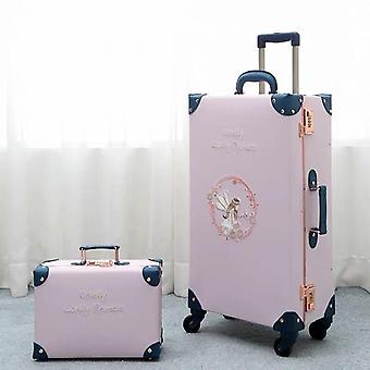 New Vintage Floral Pu Travel Bag, Rolling Luggage Trolley