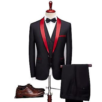 Men Slim Fit Fashion Suit Wedding Shawl 3 Pieces Skinny Jacket