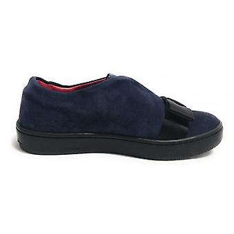 Women's Shoes Aurora Sneaker Suede Suede Col. Blue With Black Bow D18au08