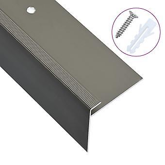 vidaXL Krawędzie schodów w kształcie litery F 15 szt. aluminium 90 cm brązowy