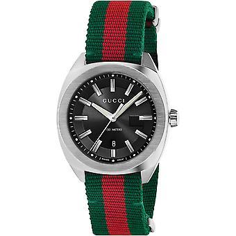 Gucci Ya142305 Zwarte Wijzerplaat Groen-rood Nylon Band Men's Horloge