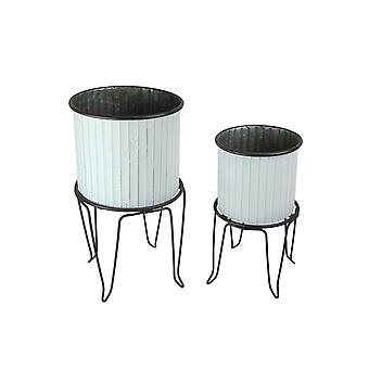 Set of 2 White / Charcoal Round Metal Tub Planters On Stands