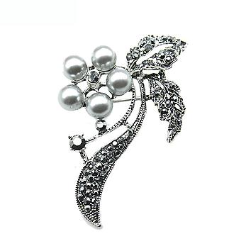 Retro Brooch Pin Black Pearls Corsage Women Brooch