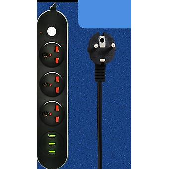 Power Strip Eu Plug, Usb Charging Socket Electrical Extender Cable For Home