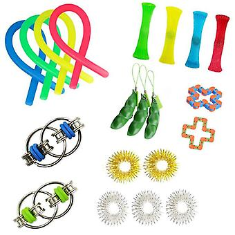 Vent Decompression Toy Set Edamame Rainbow Flour Ball Decompression Spring Net Tube Track Chain
