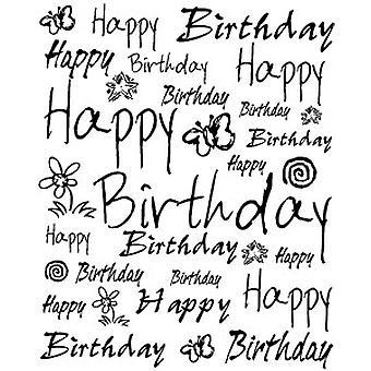 Jazzy cumpleaños fondo madera montada sello