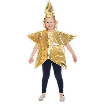 Orion Kostuums Kids Gold Christmas Star Kerststal Fancy Dress Costume Age 4-7 Jr