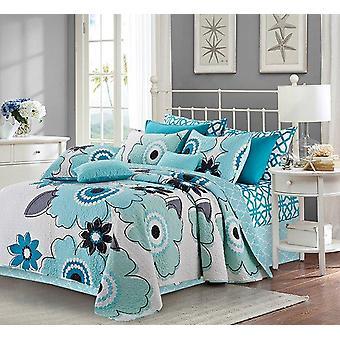 Spura Home Floral Francesca Aqua / Hvid Trykte OvergangSordning Quilt Set