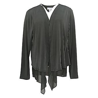 Susan Graver Women's Sweater Liquid Knit Open-Front Cardigan Gray A387754