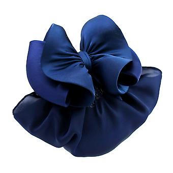 Women Mesh Bow Barrette Hairpin Office Work Hairpiece Stripe Style