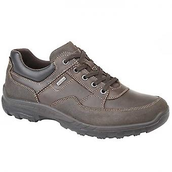 IMAC Ace Mens Leather Lace Up Trail Shoes Brown