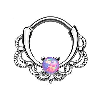 Septum piercing clicker - lacey single opalite w/clear cz gem - 16ga - sold each