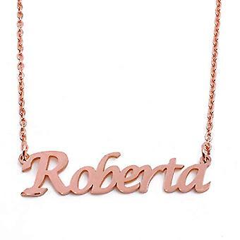 KL Kigu Roberta - Kvinders halskæde med navn, rosa guld, med navn, moderigtigt, gave til kæreste, mor, søster