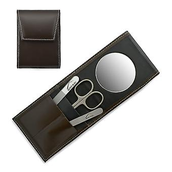 Mont Bleu 3-piece Manicure Set in a Premium Umber Brown Leather Case with Mirror & Crystal Nail File - Steel