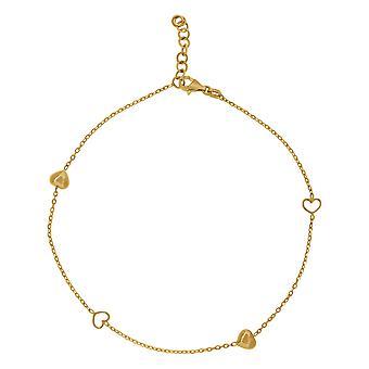 14k geelgouden vrouwen gepolijste afwerking liefde hart kralen enkelband sieraden geschenken voor vrouwen - 2,0 gram