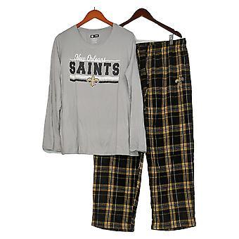 NFL Mujer Manga Larga Top &Pantalones de Franela Pijama Set Gris