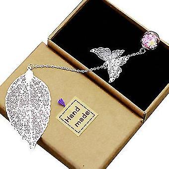 Hopea metallinen sulka kirjanmerkki 3D perhonen ja lasiset läjät kuiva kukka riipus x523